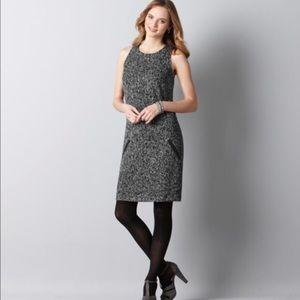 LOFT Tweed Shift dress with leather trim